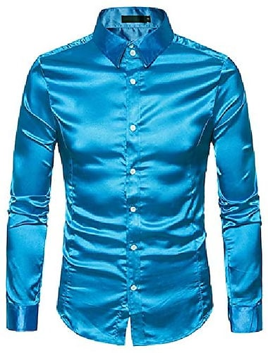 Hop μόδας ανδρικά μακρυμάνικα πουκάμισα για τη δεκαετία του \'70 ντίσκο γυαλιστερό σατέν μετάξι όπως κουμπιά πουκάμισο hopm384-blue-m