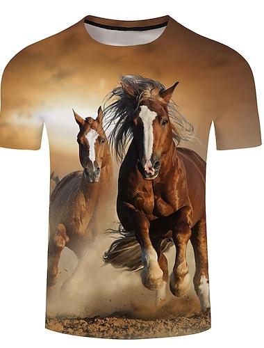 Муж. Универсальные Футболки Футболка Рубашка 3D печать Графические принты Лошадь Большие размеры 3D печать С короткими рукавами Повседневные Верхушки