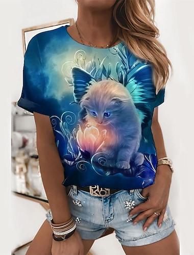 여성용 3D 고양이 T 셔츠 고양이 3D 동물 프린트 라운드 넥 탑스 베이직 기본 탑 푸른