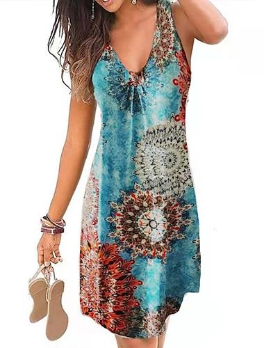 Women\'s A Line Dress Knee Length Dress YC0712-dark purple YC0712-Green leaves on black YC0712- wine red YC0712-Ethnic style blue YC0712-Ethnic wind red YC0712-Blue rose YC0712-big flower / Holiday