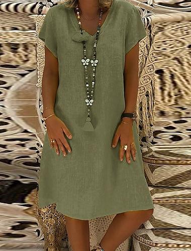 Mujer Vestido de cambio Vestido hasta la Rodilla Amarillo Verde Ejercito Caqui Manga Corta Color solido Primavera Verano Escote en Pico Basico Casual Corte Ancho 2021 M L XL XXL 3XL 4XL 5XL