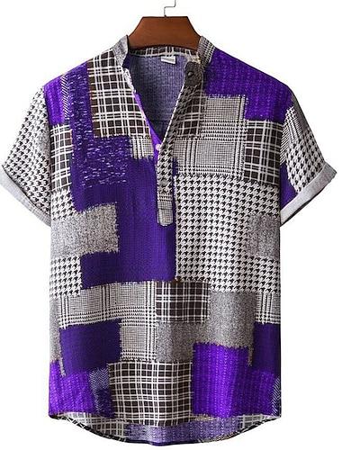 Men\'s Shirt Color Block Button-Down Short Sleeve Casual Tops Casual Fashion Breathable Comfortable Purple / Beach
