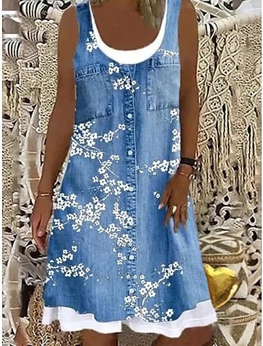 Mujer Vestido de cambio Vestido hasta la Rodilla Azul Piscina Gris Marrón Azul claro Sin Mangas Floral falso de dos piezas Estampado Primavera Verano Escote Barco Casual Moderno Corte Ancho 2021 S M