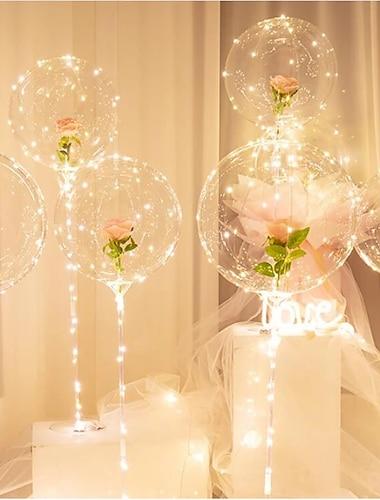 Birthday Party Decor Light LED Balloon Column Stand With Base Transparent Foil Balloon Christmas Wedding Decor Home Decor Accessories