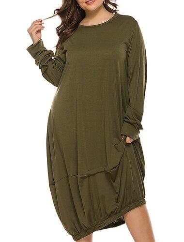 Γυναικεία Συν μέγεθος Φόρεμα Φόρεμα ριχτό Μίντι φόρεμα Μακρυμάνικο Συμπαγές Χρώμα Καθημερινό Φθινόπωρο Καλοκαίρι Κρασί Πράσινο παραλλαγής Γκρίζο XL XXL 3XL 4XL 5XL / Μεγάλα Μεγέθη / Μεγάλα Μεγέθη