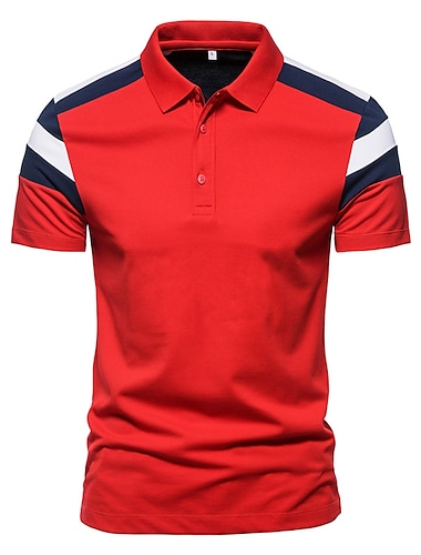 Bărbați Cămașă de golf Cămașă de tenis Grafic Bloc Culoare Manșon scurt Casual Topuri Simplu Alb Roșu-aprins Bleumarin
