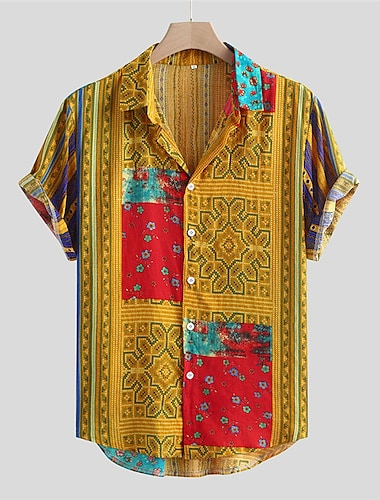 Men\'s Shirt Tribal Button-Down Short Sleeve Casual Tops Cotton Casual Fashion Hawaiian Comfortable Yellow Green Red