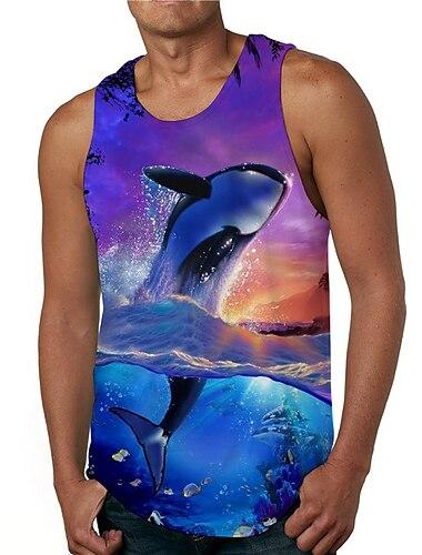 Hombre Camiseta sin mangas Camisetas Interiores Impresion 3D Estampados Tiburon Estampado Sin Mangas Diario Tops Casual De Diseno Grande y alto Azul Piscina
