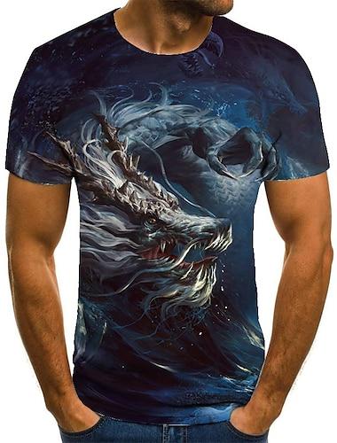 Hombre Unisexo Tee Camiseta Camisa Impresion 3D Dragon Estampados Tallas Grandes Estampado Manga Corta Casual Tops Basico Moda De Diseno Grande y alto Escote Redondo Azul Piscina