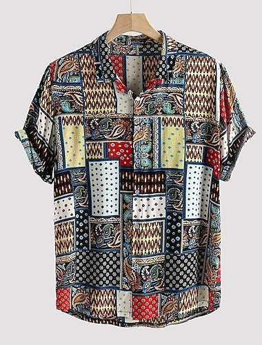 Men\'s Shirt Tribal Button-Down Short Sleeve Casual Tops Lightweight Casual Fashion Breathable Rainbow