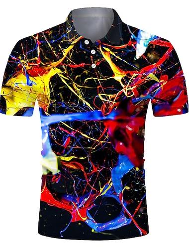Męskie Koszula golfowa Koszula tenisowa Druk 3D Gradient Przycisk w dół Krótki rękaw Ulica Najfatalniejszy Codzienny Moda Nowoczesne Oddychający Czarny / Sport