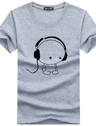 Per uomo maglietta Camicia Pop art Con stampe Manica corta Quotidiano Taglia piccola Top Cotone Essenziale Rotonda Blu Grigio Bianco / Estate