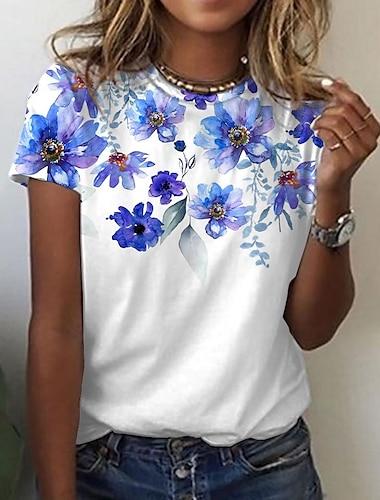 Dámské Květinový motiv Tričko Květinový Grafika Tisk Kulatý Základní Topy Vodní modrá