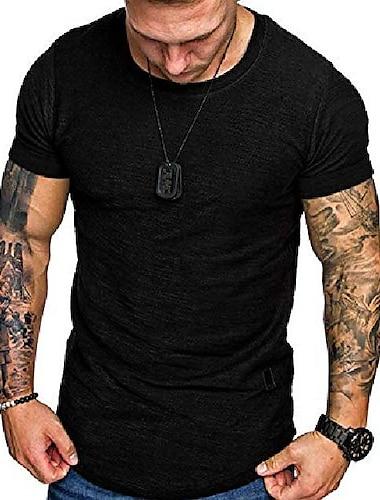 мужские футболки aolesy, мускулистая спортивная тренировочная рубашка для мужчин с коротким рукавом с круглым вырезом легкая быстросохнущая футболка черная