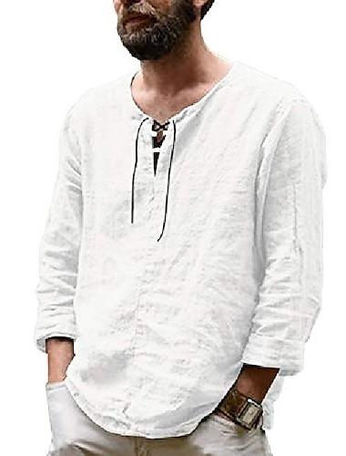 Per uomo Camicia Tinta unica Manica lunga Casual Standard Top Cotone Da ufficio Essenziale Casuale Grigio Nero Beige / Primavera