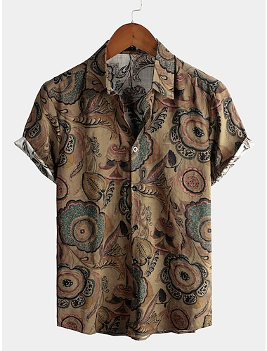 Men\'s Shirt Tribal Short Sleeve Daily Tops Cotton Basic Boho Classic Collar Brown / Beach