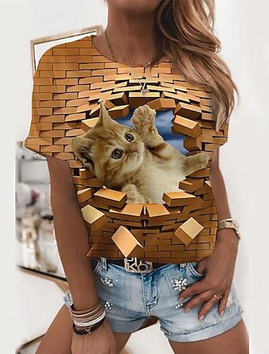 Dámské 3D 3D kočka Tričko Kočka 3D Zvíře Tisk Kulatý Základní Topy Khaki