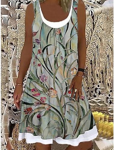 Mujer Vestido de cambio Vestido hasta la Rodilla Verde Claro Sin Mangas Floral Estampado Primavera Verano Escote Barco Casual Festivos Corte Ancho 2021 S M L XL XXL 3XL