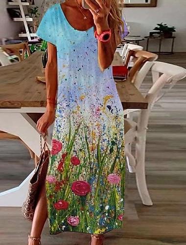 Női A vonalú ruha Maxi hosszú ruha Világoskék krizantém Kis piros virág Nagy krizantém Arcpír rózsaszín khakizöld Tengerészkék Rövid ujjú Virágos Színátmenet Tömör szín Hasított Nyomtatott Tavasz Nyár