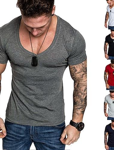 Bărbați Tricou Cămașă Mată Mărime Plus Manșon scurt Zilnic Zvelt Topuri În V Gri Închis Gri Alb / Sport / Muncă