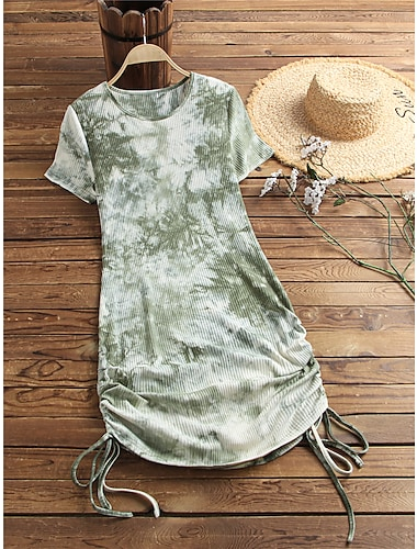 Women\'s T shirt Dress Tie Dye Drawstring Round Neck Basic Tops Yellow Green