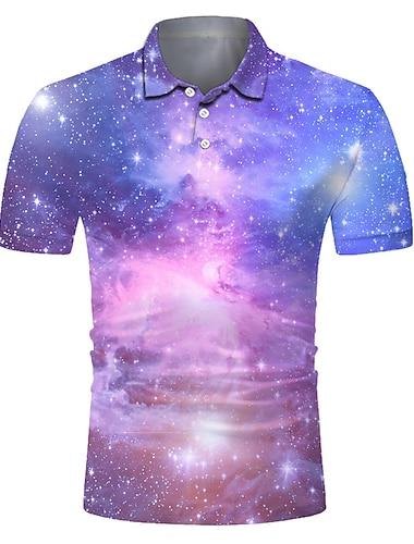 Homens Camisa de golfe Camisa de tenis Impressao 3D Galaxia Botao para baixo Manga Curta Rua Blusas Casual Moda Legal Respiravel Rosa / Esportes