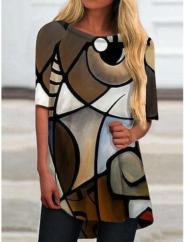 Γυναικεία Κοντομάνικο φόρεμα Μίνι φόρεμα Γκρίζο Μισό μανίκι Συνδυασμός Χρωμάτων Στάμπα Άνοιξη Καλοκαίρι Στρογγυλή Λαιμόκοψη Καθημερινό Αργίες 2021 Τ M L XL XXL 3XL