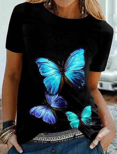 Dámské Motýl Tričko Grafika Motýl Tisk Kulatý Základní Topy Černá