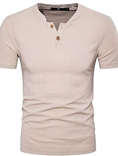 Sir7 פשתן כותנה לגברים חולצת הנלי שרוול קצר קיץ חוף חולצות מזדמנים בז \'קטן