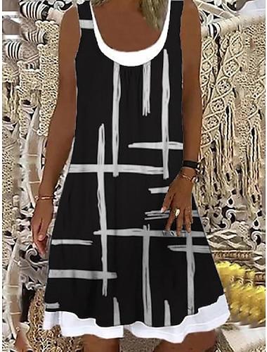 Mujer Vestido de cambio Vestido hasta la Rodilla Negro Sin Mangas A Rayas Estampado Primavera Verano Escote Barco Casual Festivos Corte Ancho 2021 S M L XL XXL 3XL