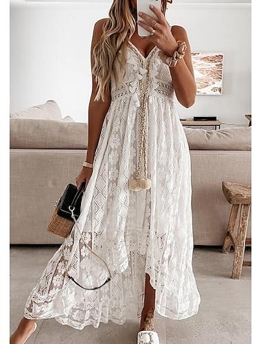 Γυναικεία Φόρεμα ριχτό από τη μέση και κάτω Μακρύ φόρεμα Λευκό Μπεζ Αμάνικο Στάμπα Κεντητό Δαντέλα Άνοιξη Καλοκαίρι Λαιμόκοψη V Καθημερινό Γιορτή Μπόχο Παραλία 2021 Τ M L XL XXL
