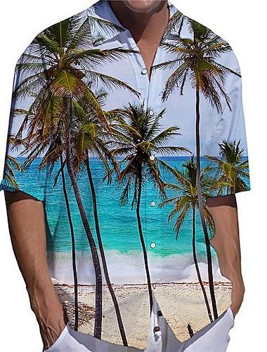 Pánské Košile 3D tisk Scéna Kokosový strom Větší velikosti 3D tisk Tlačítko dolů Krátký rukáv Ležérní Topy Na běžné nošení Módní Šik ven Prodyšné Bílá / Sport