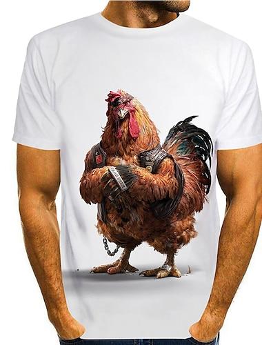 Tee T-shirt Chemise Homme 3D effet Imprimes Photos Poulet Imprime Manches Courtes Quotidien Vacances Standard Polyester Simple Designer Grand et grand Col Rond / Ete