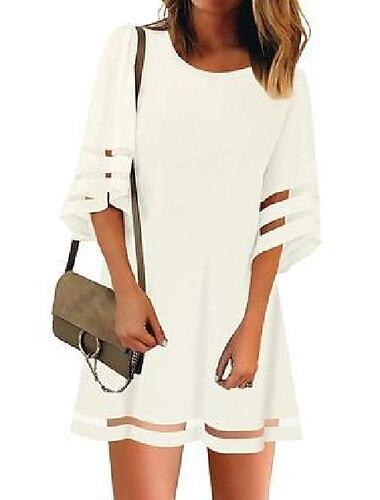 Γυναικεία Φόρεμα σε γραμμή Α Μίνι φόρεμα Λευκό Μαύρο Ρουμπίνι 3/4 Μήκος Μανικιού Συμπαγές Χρώμα Κοφτό Κουρελού Φθινόπωρο Άνοιξη Στρογγυλή Λαιμόκοψη Γραφείο Καθημερινό 2021 Τ M L XL XXL