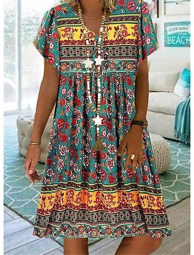 Γυναικεία Κοντομάνικο φόρεμα Φόρεμα μέχρι το γόνατο Πράσινο του τριφυλλιού Ουρανί Μπεζ Κοντομάνικο Στάμπα Ζώο Στάμπα Άνοιξη Καλοκαίρι Λαιμόκοψη V Καθημερινά Μπόχο 2021 Τ M L XL XXL XXXL 4XL 5XL