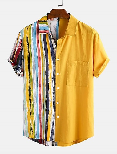 Men\'s Shirt Striped Button-Down Short Sleeve Casual Tops Lightweight Casual Fashion Breathable Yellow