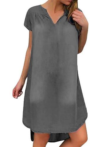 Women\'s Shift Dress Knee Length Dress Blue Gray Short Sleeve Solid Color Patchwork Plus High Low Summer V Neck Casual 2021 S M L XL XXL 3XL / Denim Dress
