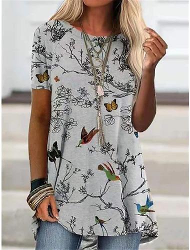 Dámské Tričkové šaty Krátké mini šaty Šedá Krátký rukáv Tisk Ptáček Jaro Léto Běžné / Denní 2021 S M L XL XXL XXXL