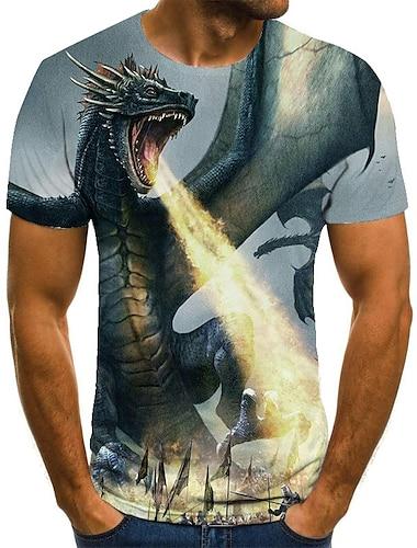 Homens Unisexo Camisetas Camiseta Camisa Social Impressao 3D Dragao Estampas Abstratas Tamanhos Grandes Estampado Manga Curta Casual Blusas Basico Moda Designer Grande e Alto Decote Redondo Azul