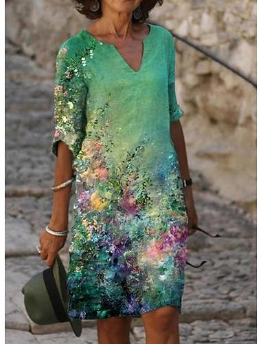 Vestido de linea a para mujer vestido hasta la rodilla azul verde blanco negro verde claro beige media manga estampado floral primavera verano cuello en v elegante casual vintage 2021 s m l xl xxl 3xl