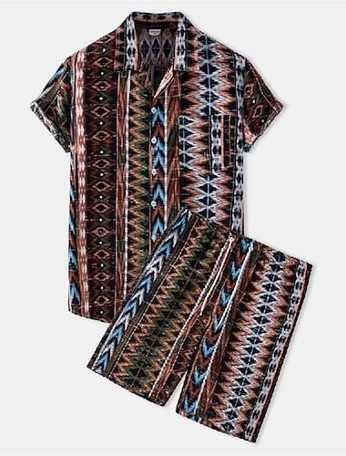 Per uomo Abiti di camicia Camicia Tribale Bottone giu Manica corta Casuale Top Cotone Casuale Di tendenza Hawaiano Traspirante Marrone