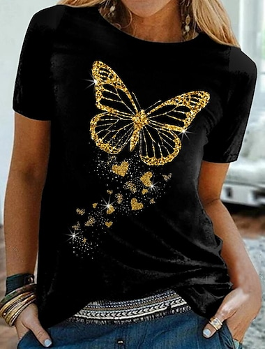 Dámské Motýl Tričko Motýl Tisk Kulatý Základní Topy Černá