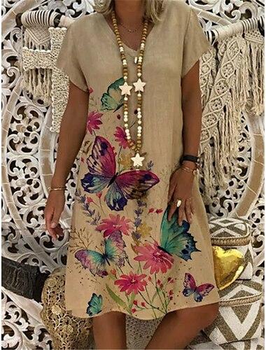 Női A vonalú ruha Térdig érő ruha Khakizöld Fekete Rövid ujjú Virágos Állat Nyár V-alakú Elegáns Alkalmi 2021 S M L XL XXL 3XL 4XL 5XL