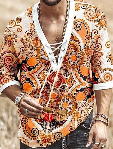 Per uomo Camicia Fantasia floreale A cordoncino Manica corta Casuale Top Casuale Di tendenza Traspirante Comodo Bianco Arancione Blu marino