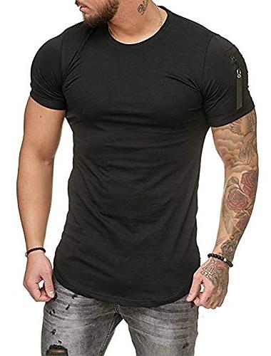 Мужская спортивная футболка для спортзала, модная хлопковая рубашка на молнии для тренировок, приталенный летний топ с короткими рукавами