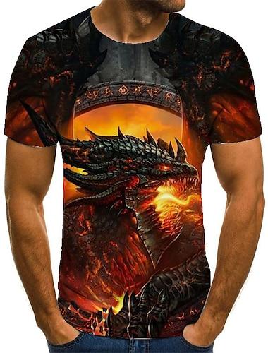 Hombre Unisexo Tee Camiseta Impresion 3D Dragon Estampados Tallas Grandes Estampado Manga Corta Casual Tops Basico Moda De Diseno Grande y alto Naranja