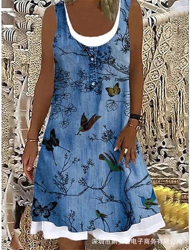 Mujer Vestido de tirantes Vestido hasta la Rodilla Azul claro Sin Mangas Floral Animal Estampado Verano Escote Barco Elegante Casual Festivos 2021 S M L XL XXL 3XL