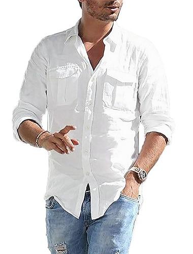 Per uomo Camicia Tinta unica Bottone giu Manica lunga Casuale Top Leggero Casuale Di tendenza Traspirante Blu Bianco Nero