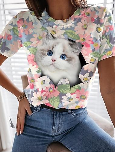 Dámské Květinový motiv 3D kočka Tričko Květinový Kočka 3D Tisk Kulatý Základní Topy Světlá růžová
