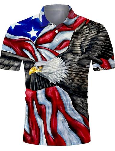 Men\'s Golf Shirt Tennis Shirt 3D Print Eagle American Flag National Flag Button-Down Short Sleeve Street Tops Casual Fashion Cool Breathable Blue / Sports
